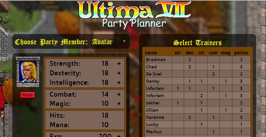 Ultima VII Party Planner